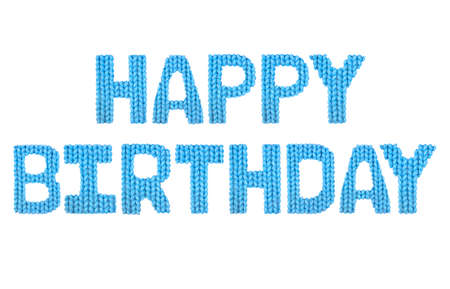 Happy birthday word on a blurry texture knitted pattern of woolen thread closeup. English alphabet. Typography design. Color blue