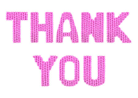 Thank you word on a blurry texture knitted pattern of woolen thread closeup. English alphabet. Typography design. Color pink