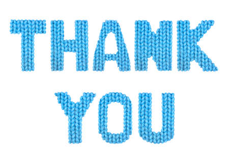Thank you word on a blurry texture knitted pattern of woolen thread closeup. English alphabet. Typography design. Color blue