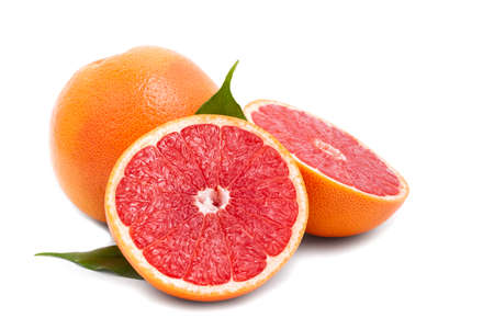 Isolated grapefruit with green leaves