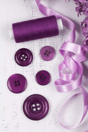 Purple buttons with a thread photo