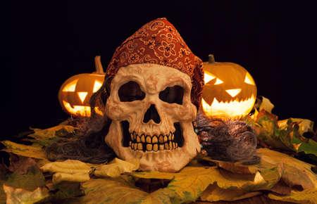 halloween mask: Scary halloween mask with pumpkins Stock Photo