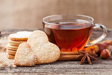 tea and biscuits: Heart shaped cookies gift for valentines day holiday with love