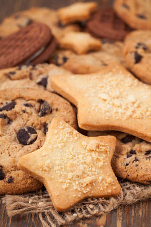 Variety of star and american cookies photo
