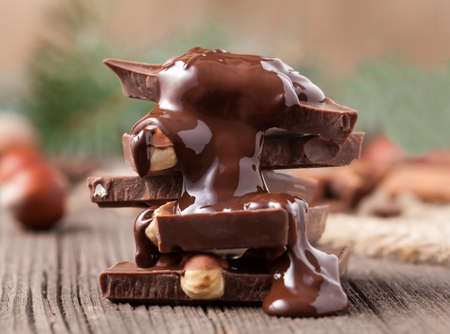 ingredient: Stack of melted chocolate with nuts