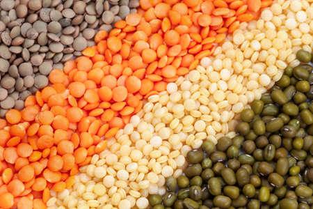 heathy: Variety of raw heathy super food legumes and grain Stock Photo