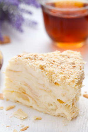 custard slice: Custard slice cake in vintage provence style background with tea and lavender