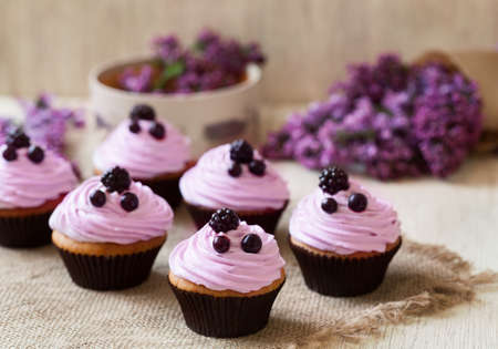 Homemade cupcakes traditional American sweet baked dessert with berries and lilac on vintage textile background. Natural light, rustic style. Stockfoto