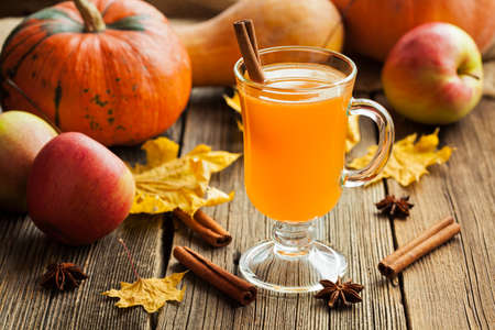 Hot apple cider healthy traditional winter christmas or thanksgiving holiday beverage. Sweet organic autumn drink with spices, cinnamon and anise on vintage wooden background. Rustic style.