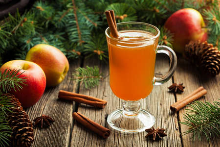 Hot apple cider traditional winter season drink with cinnamon and anise. Homemade healthy organic warm spice beverage. Christmas or thanksgiving holiday decoration on vintage wooden background. Rustic style.
