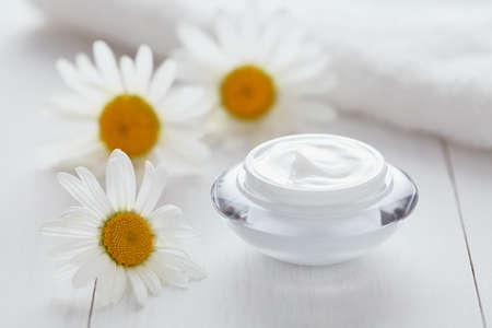 blackhead: Herbal cosmetic acne cream with chamomile vitamin natural organic moisturizer cleansing product with towel. Dermatology hygienic anti aging, wrinkle, blemish, pimple, blackhead clear treatment