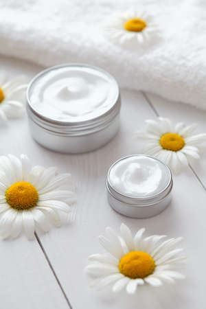 blemish: Hygienic herbal cosmetic cream with chamomile vitamin spa lotion natural organic moisturizer cleansing product. Medical dermatology anti aging, acne, blemish, pimple, blackhead clear treatment