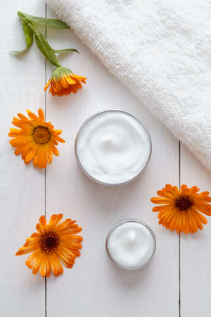 blemish: Natural organic herbal cosmetic cream with calendula flowers vitamin spa lotion moisturizer cleansing product. Medical dermatology anti aging, acne, blemish, pimple, blackhead clear treatment