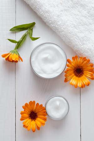 blackhead: Skin cleansing cosmetic cream with calendula vitamin spa lotion natural organic herbal moisturizer product. Medical dermatology anti aging, acne, blemish, pimple, blackhead clear treatment