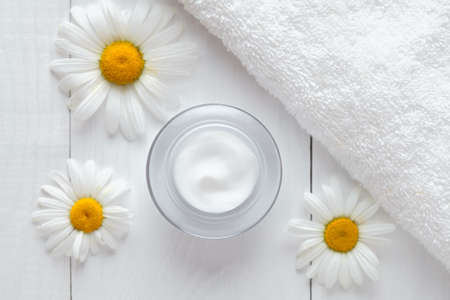blackhead: Herb cosmetic anti wrinkle cream with chamomile vitamin spa lotion natural organic moisturizer cleansing product. Dermatology hygienic anti aging, acne, blemish, pimple, blackhead clear treatment