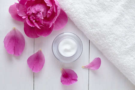 blackhead: Herbal cosmetic acne cream with flower vitamin skincare natural organic moisturizer cleansing product with flowers. Dermatology hygienic anti aging, wrinkle, blemish, pimple, blackhead clear treatment Stock Photo