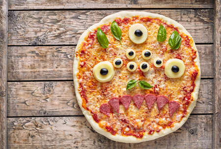 Halloween Creative Scary Food Eye Monster Zombie Face Pizza Snack With Mozzarella Basil And Sausage