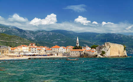 kotor: Panoramic view of the Budva Riviera travel destination from the beach Mogrenof the fortress of the Old Town. Budva - one of the best preserved medieval cities in the Mediterranean. Montenegro, Europe
