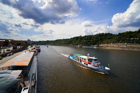Famous Prague Vltava river with ship European Czech republic tourist
