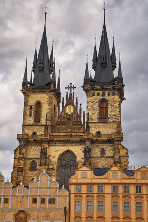 Famous Church of Our Lady before Tyn Prague old town square tourist medieval gothic architecture building landmark