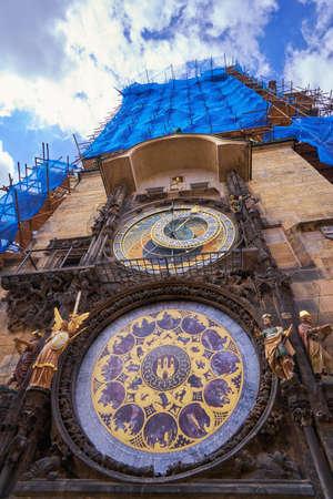Prague astronomical clock famous Czech republic landmark on old town square