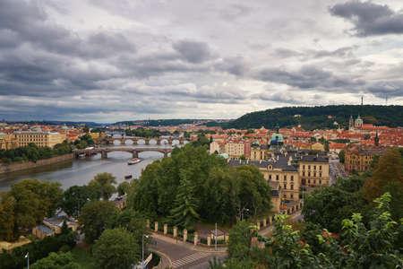 Prague bridges and famous Charles bridge across Vltava river Czech republic medieval architecture