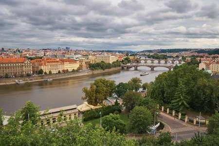 Prague bridges and Charles bridge Vltava river with ships