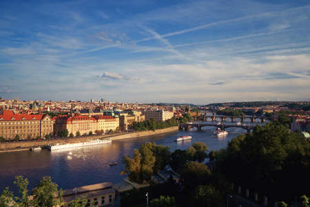 Prague bridges and famous Charles bridge across Vltava river Stockfoto