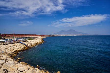 Naples coastline bay Vesuvius volcano mountain panoramic view Campania sea coast famous tourist travel place of interest summer vacation day