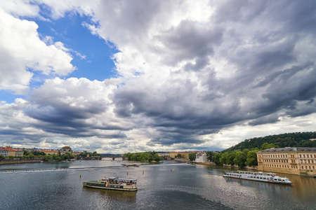 Vltava river Prague Czech republic tourism travel historic architecture cultural landmark sunset sky Praha panorama landscape view