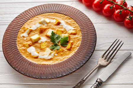 Shahi paneer Indian vegetarian masala gravy asian meal with vegetables and white sauce close up