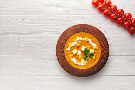 Shahi paneer Indian vegetarian masala gravy meal with vegetables and white sauce