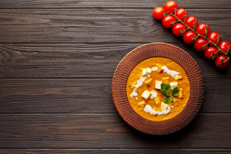 Shahi paneer Indian vegetarian masala gravy meal with vegetables and butter paneer cheese Stockfoto