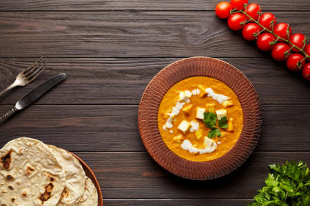 Shahi paneer traditional Indian vegetarian masala gravy meal with vegetables and butter paneer cheese Stockfoto