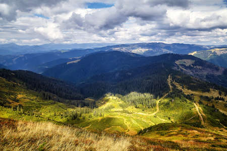 Mountain hills with grass scenic outdoor view Archivio Fotografico