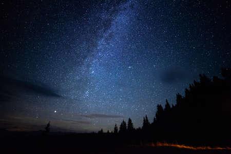 Milky way long exposure night sky with stars outdoor scene
