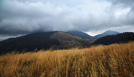 Mountains hills scenic view, autumn rural landscape.