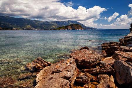 Montenegro Mogren beach near Budva Adriatic seascape