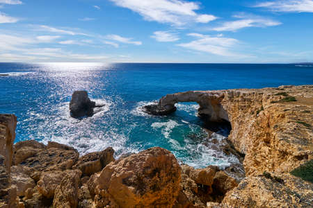 Ayia Napa lovers bridge Cyprus beach sea lagoon famous travel destination tourism and vacation bay resort landscape. Summer sunny day Archivio Fotografico