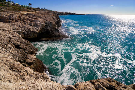Ayia Napa Cyprus beach sea lagoon famous travel destination tourism and vacation bay resort landscape. Summer sunny day