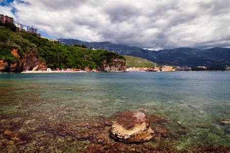 Montenegro Mogren beach near Budva Adriatic seascape and underwater coral reef