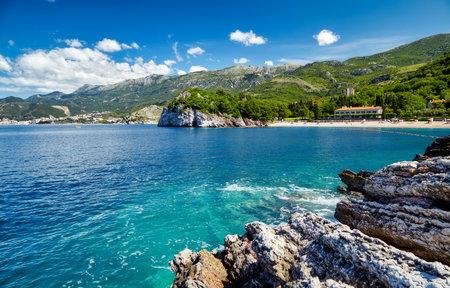 Montenegro beach beautiful Adriatic sea blue water coast and clouds in the sky