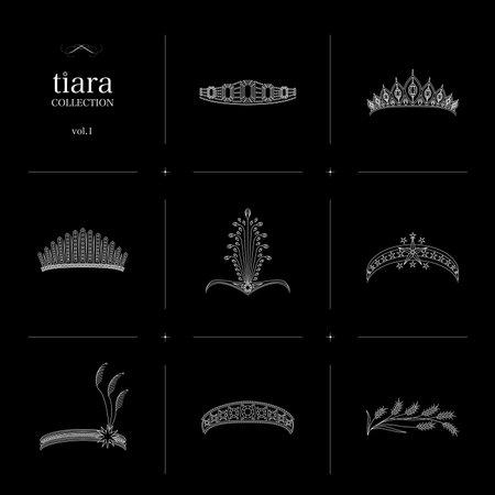 Tiara Collection 1 Line Art Illustration_White