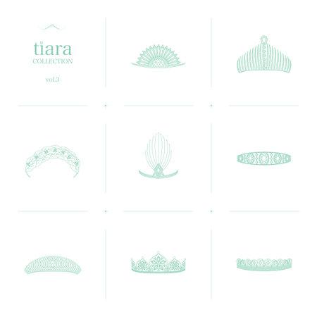 Tiara Collection 3 Line Art Illustration_Green