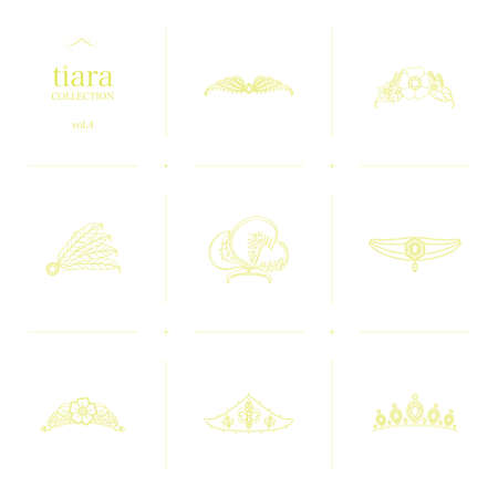 Tiara Collection 4 Line Art Illustration_Yellow Imagens