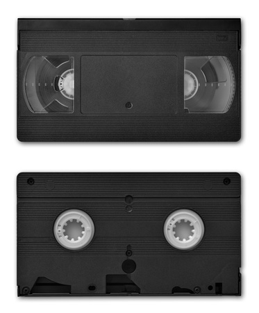 both sides: VHS video cassette both sides isolated on white Stock Photo