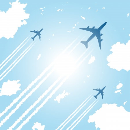 Passenger aircrafts flying in blue sky Vector