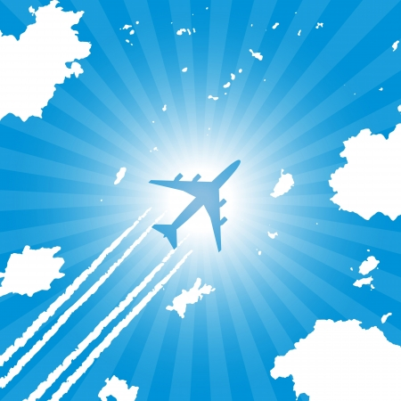 Passenger aircraft flying in blue sky Vector