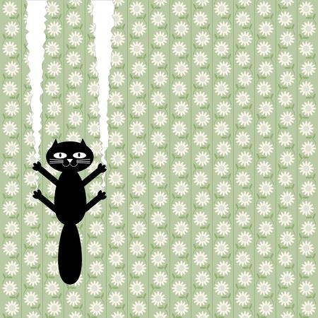 felines: naughty cat vomits wallpaper Illustration