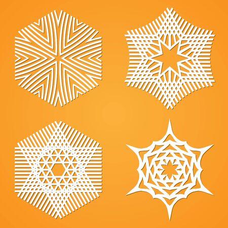 cut paper art: Paper cut out snowflakes set